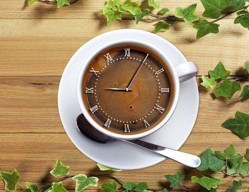taza de cafe reloj