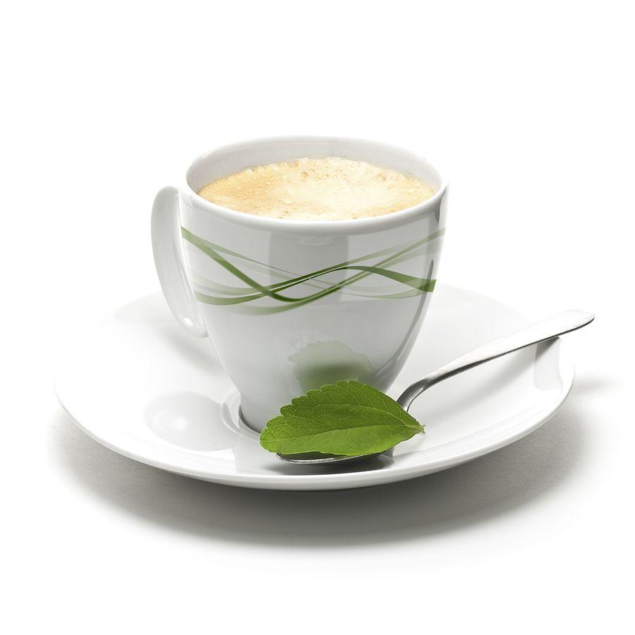 taza de cafe con hoja de stevia