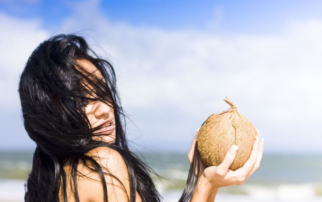 girl with coconut