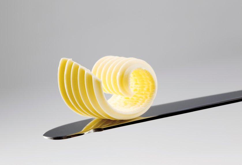 Mantequilla en un cuchillo